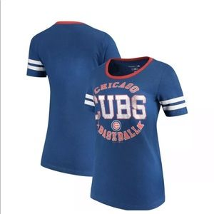 Chicago Cubs Womens 5th & Ocean Striped Sleeve Tee